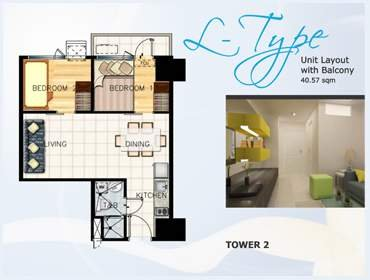 Two Bedroom Unit with Balcony L-type